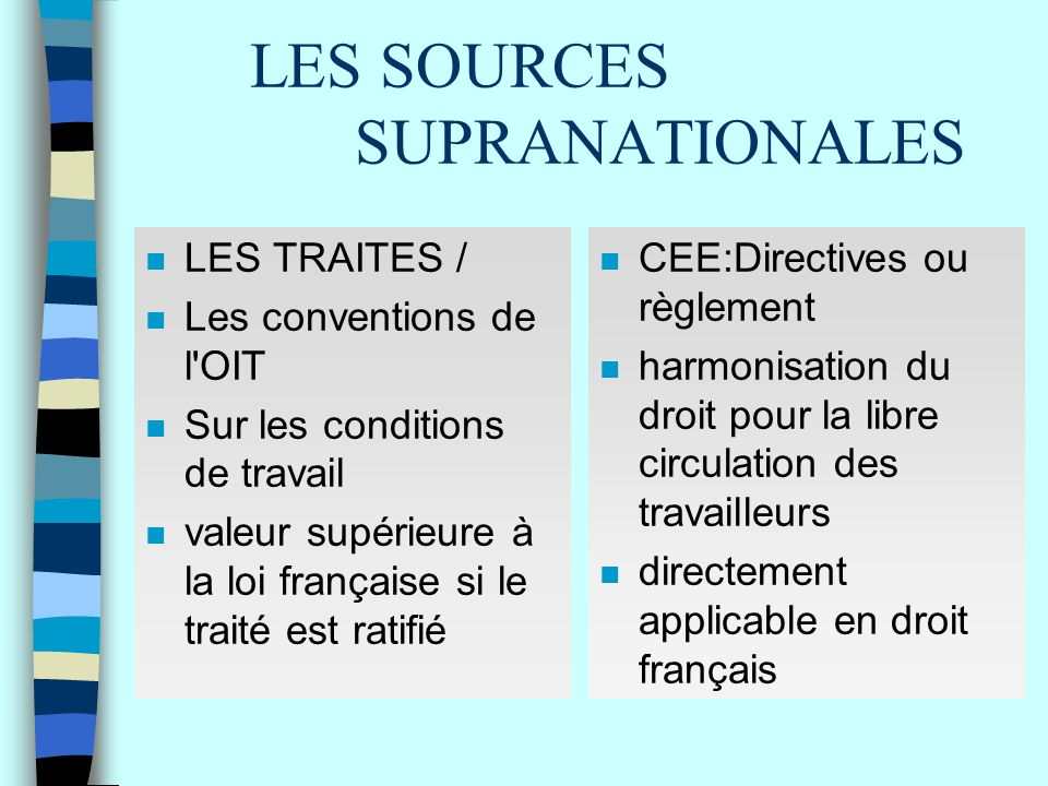 LES SOURCES SUPRANATIONALES