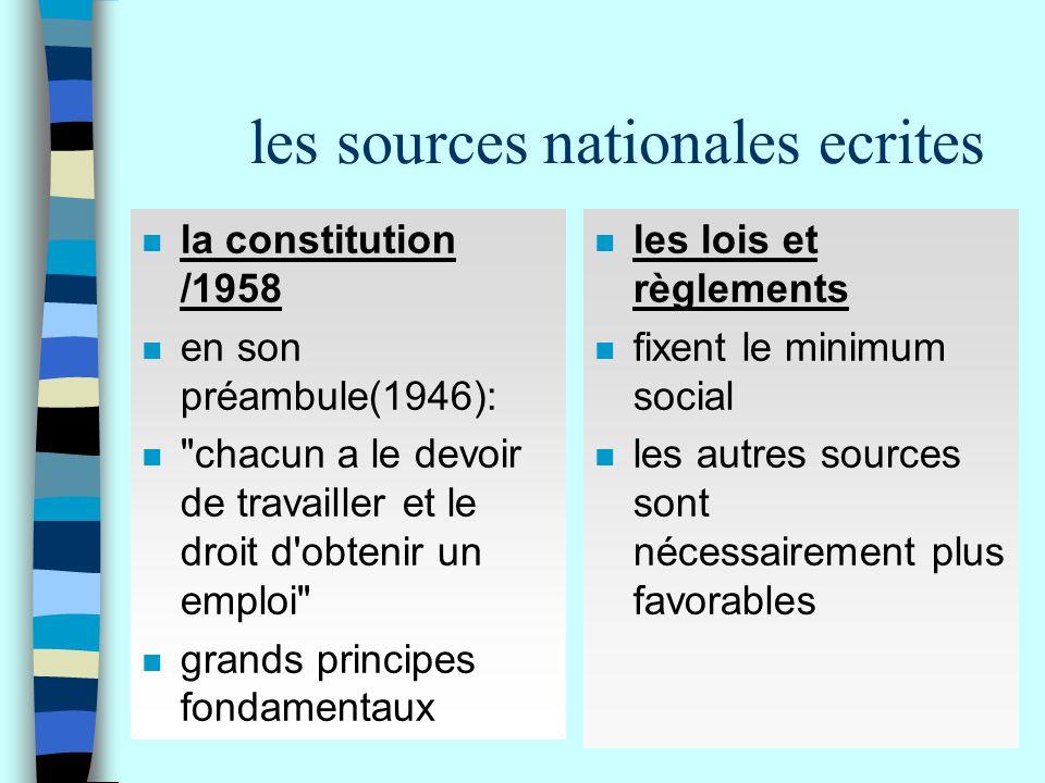 les sources nationales ecrites