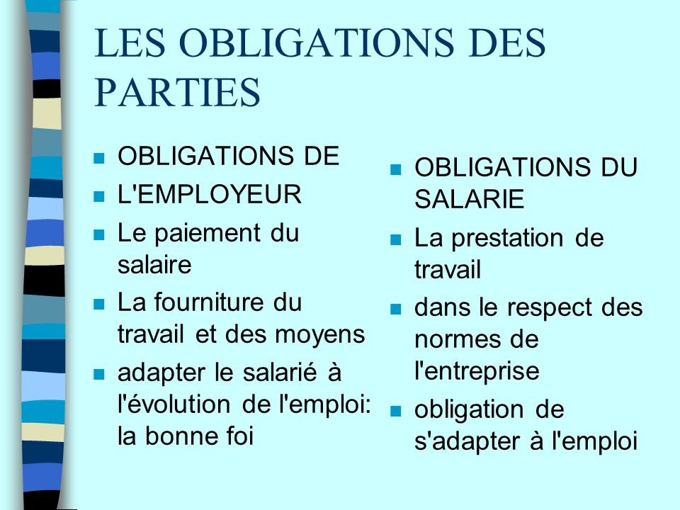 LES OBLIGATIONS DES PARTIES