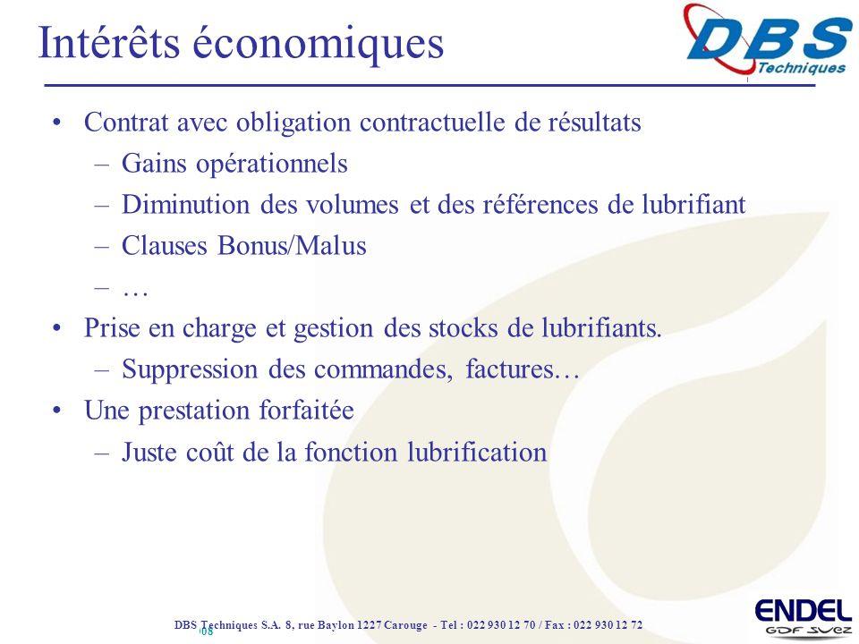 Intérêts économiques Contrat avec obligation contractuelle de résultats. Gains opérationnels.