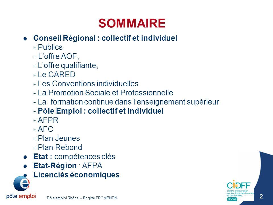 SOMMAIRE Conseil Régional : collectif et individuel - Publics