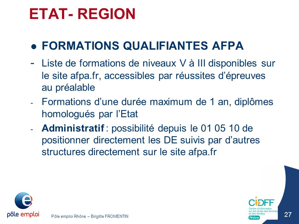 ETAT- REGION FORMATIONS QUALIFIANTES AFPA