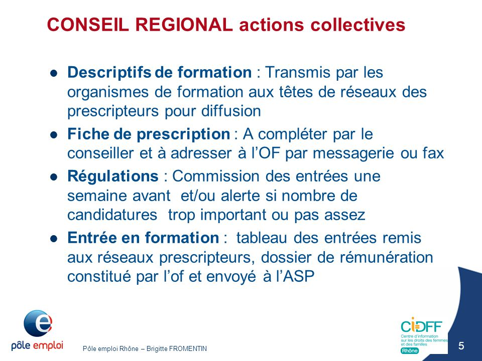 CONSEIL REGIONAL actions collectives