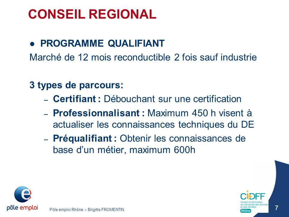 CONSEIL REGIONAL PROGRAMME QUALIFIANT
