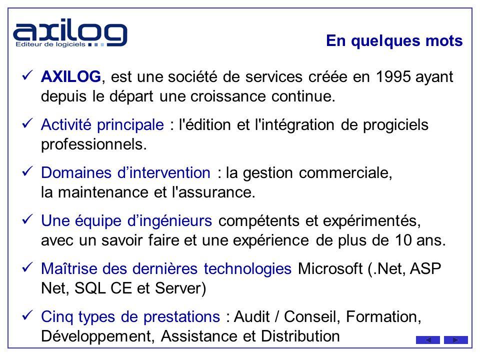 En quelques mots AXILOG, est une société de services créée en 1995 ayant depuis le départ une croissance continue.