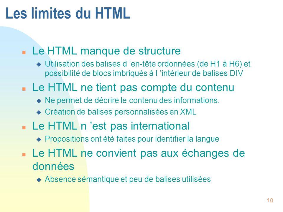 Les limites du HTML Le HTML manque de structure