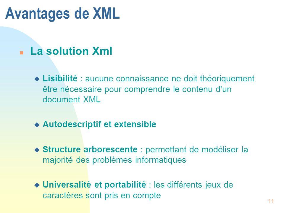 Avantages de XML La solution Xml
