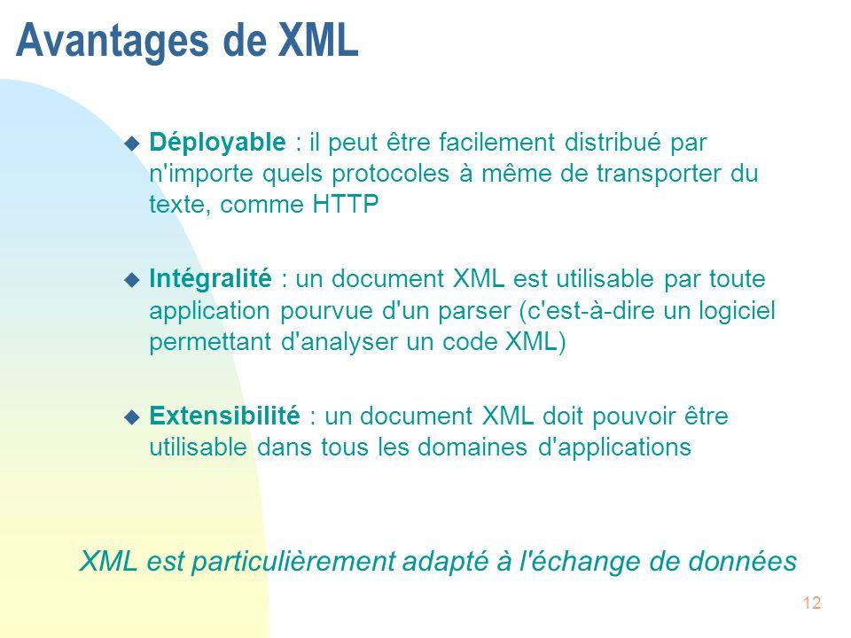 Avantages de XML Déployable : il peut être facilement distribué par n importe quels protocoles à même de transporter du texte, comme HTTP.