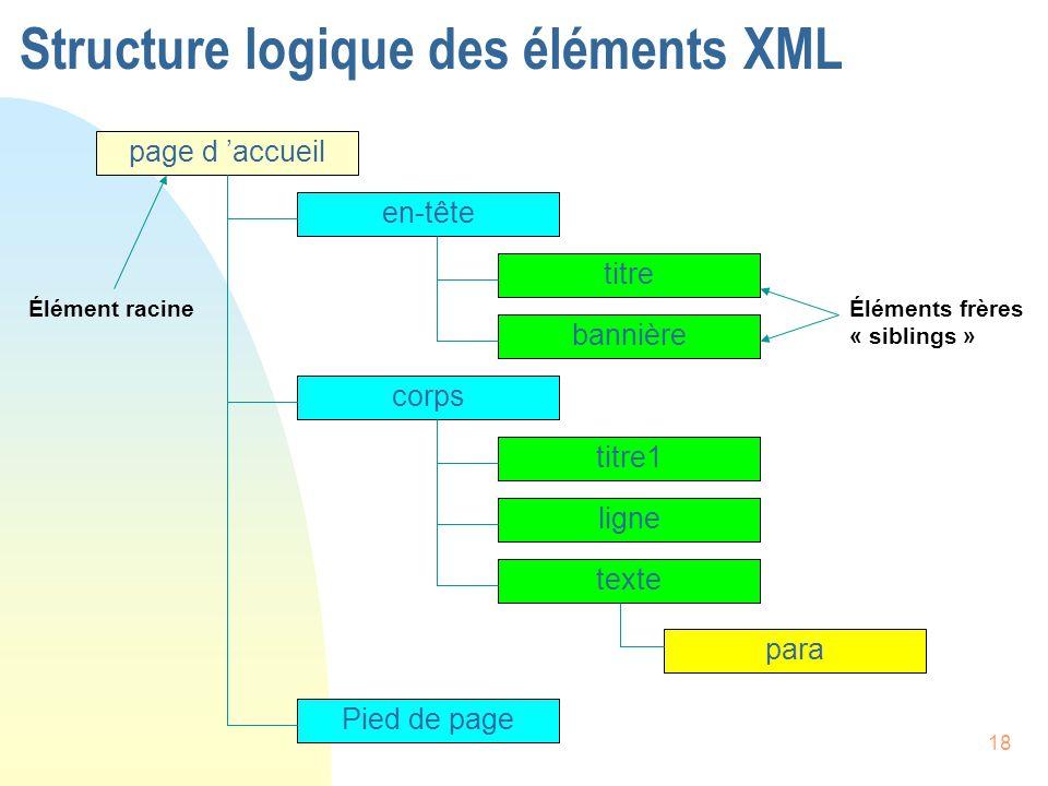 Structure logique des éléments XML