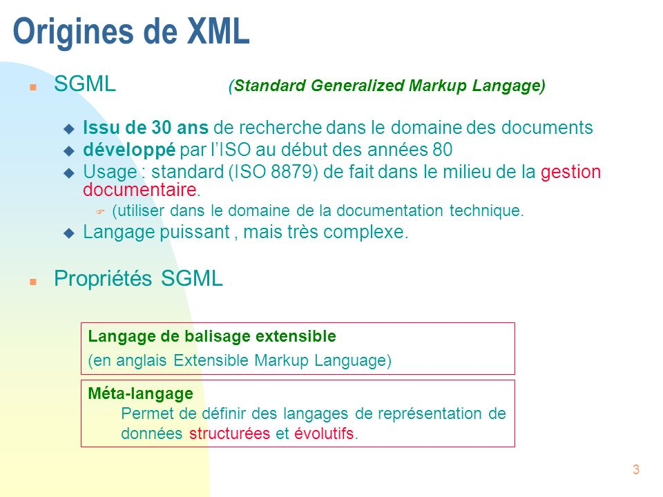 Origines de XML SGML (Standard Generalized Markup Langage)