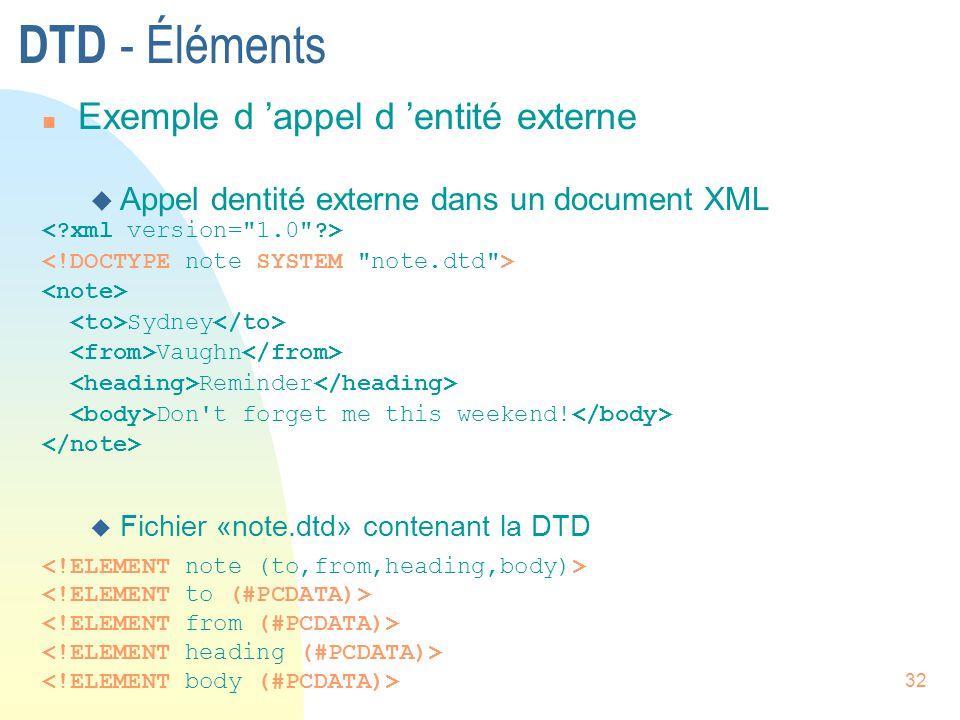 DTD - Éléments Exemple d 'appel d 'entité externe