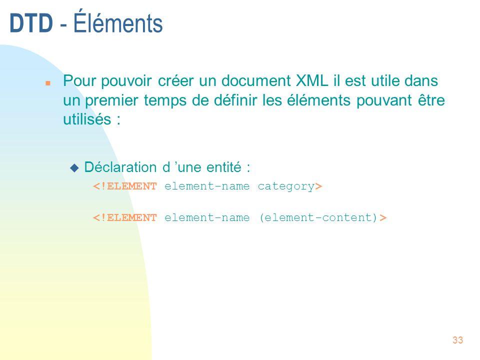 DTD - Éléments Pour pouvoir créer un document XML il est utile dans un premier temps de définir les éléments pouvant être utilisés :