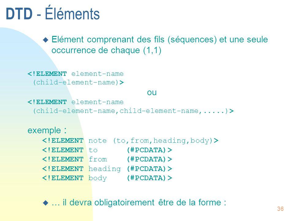 DTD - Éléments Elément comprenant des fils (séquences) et une seule occurrence de chaque (1,1) <!ELEMENT element-name.