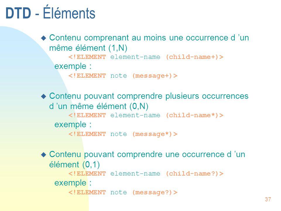 DTD - Éléments Contenu comprenant au moins une occurrence d 'un même élément (1,N) <!ELEMENT element-name (child-name+)>