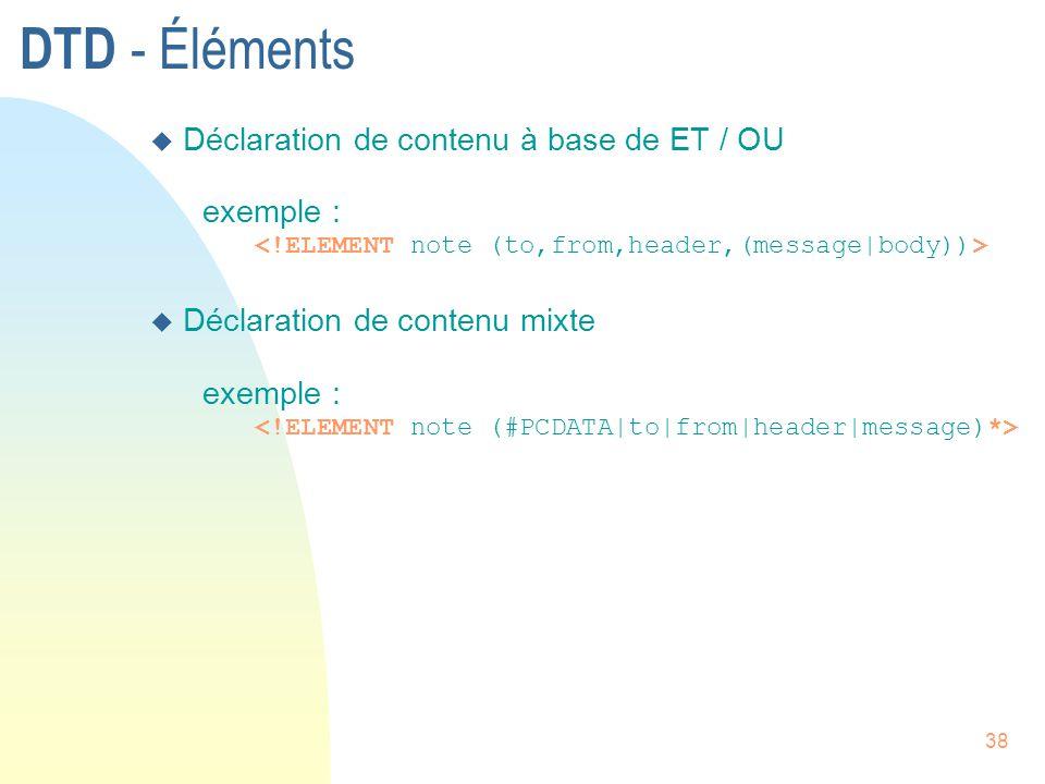 DTD - Éléments Déclaration de contenu à base de ET / OU exemple :