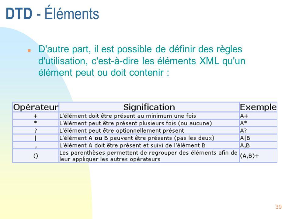 DTD - Éléments D autre part, il est possible de définir des règles d utilisation, c est-à-dire les éléments XML qu un élément peut ou doit contenir :