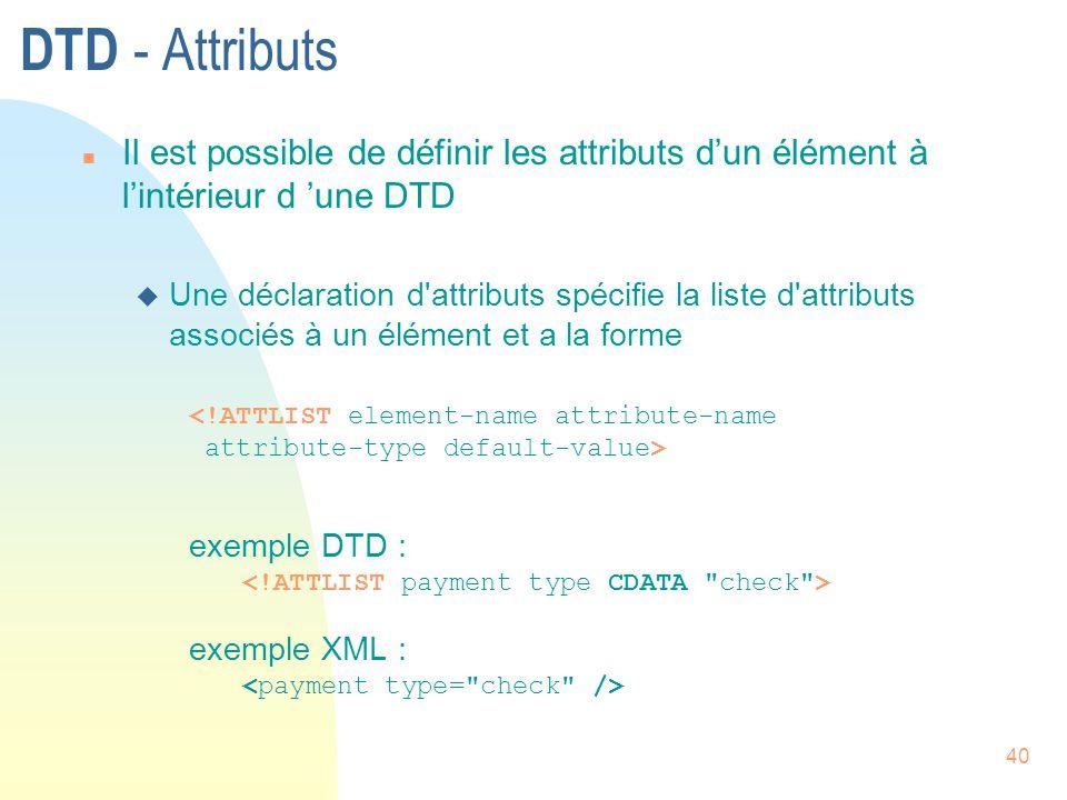 DTD - Attributs Il est possible de définir les attributs d'un élément à l'intérieur d 'une DTD.