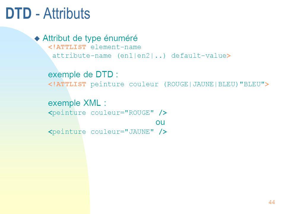 DTD - Attributs Attribut de type énuméré exemple de DTD :