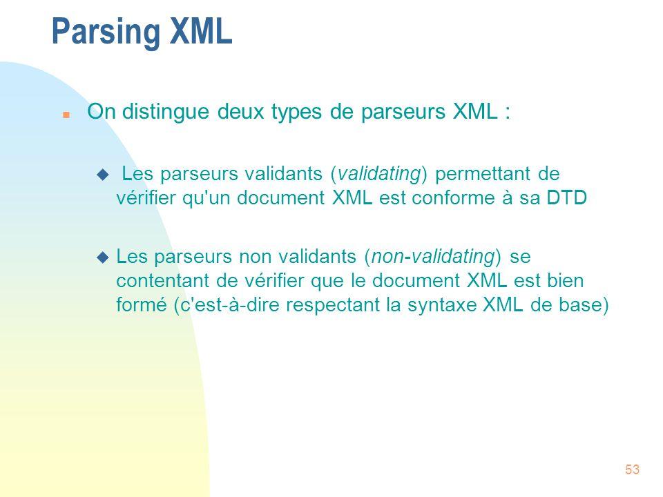 Parsing XML On distingue deux types de parseurs XML :