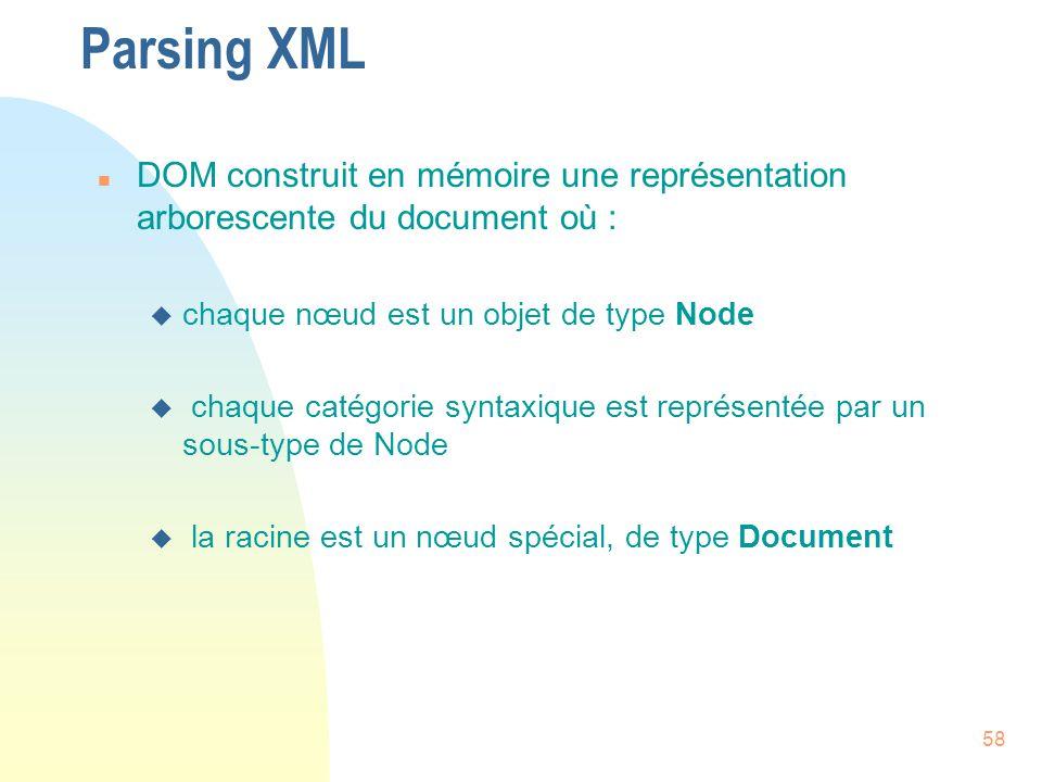 Parsing XML DOM construit en mémoire une représentation arborescente du document où : chaque nœud est un objet de type Node.