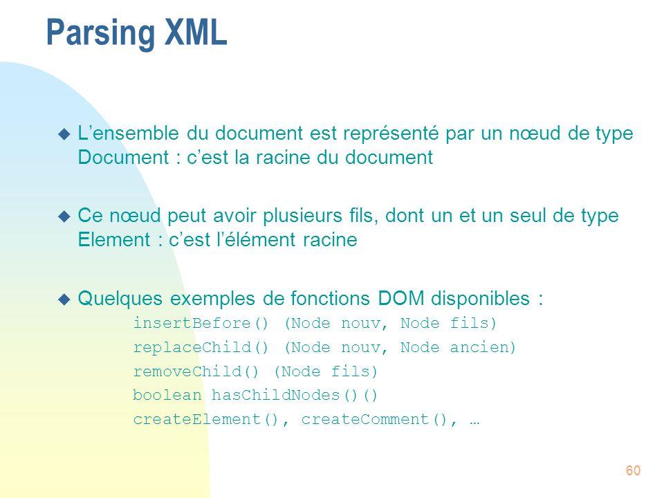 Parsing XML L'ensemble du document est représenté par un nœud de type Document : c'est la racine du document.