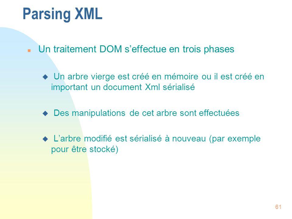Parsing XML Un traitement DOM s'effectue en trois phases