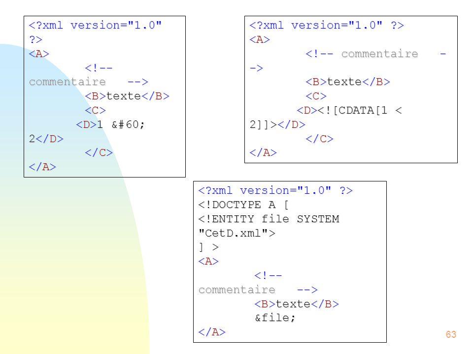 < xml version= 1.0 > <A> <!-- commentaire --> <B>texte</B> <C> <D>1 < 2</D> </C> </A>