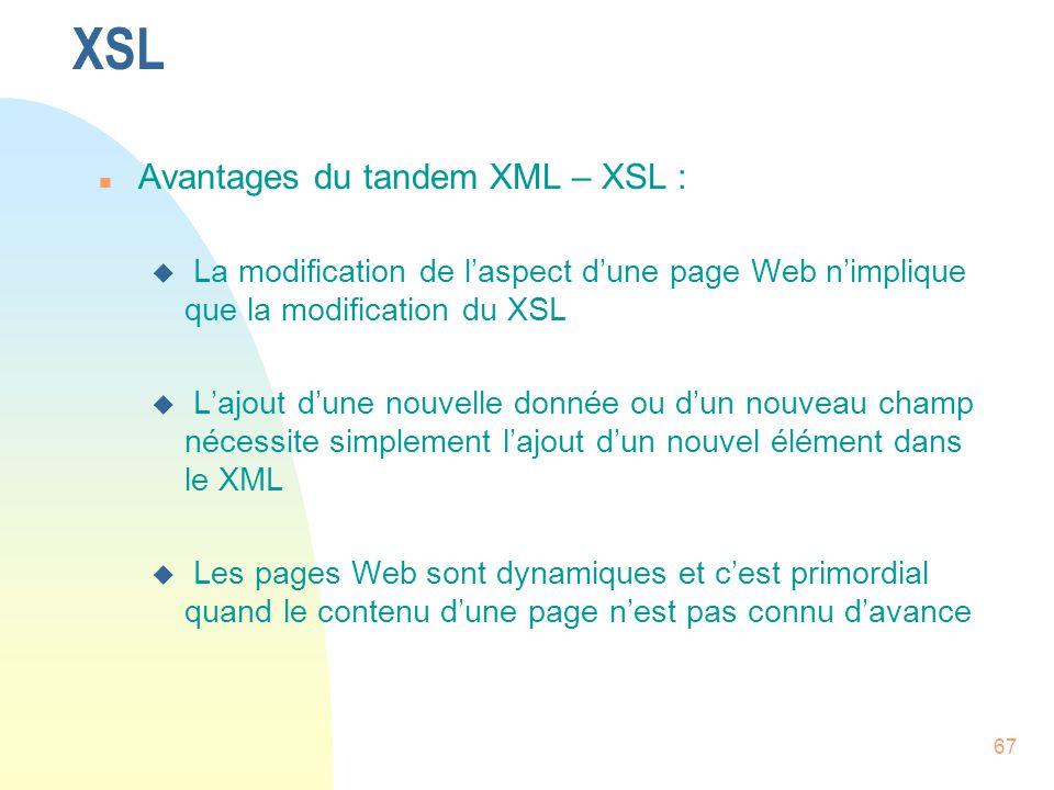 XSL Avantages du tandem XML – XSL :