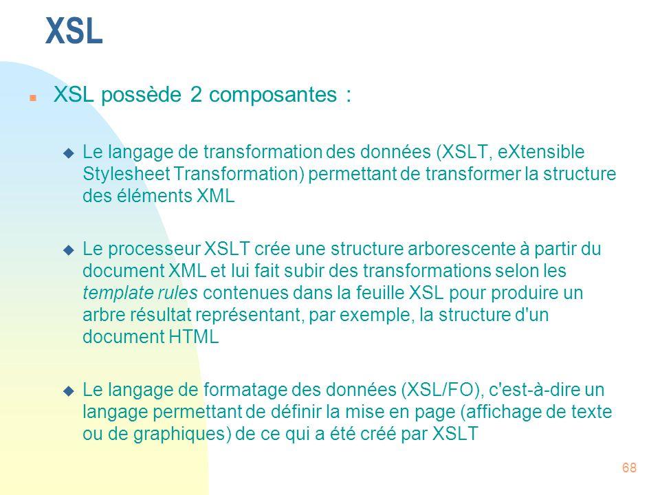 XSL XSL possède 2 composantes :
