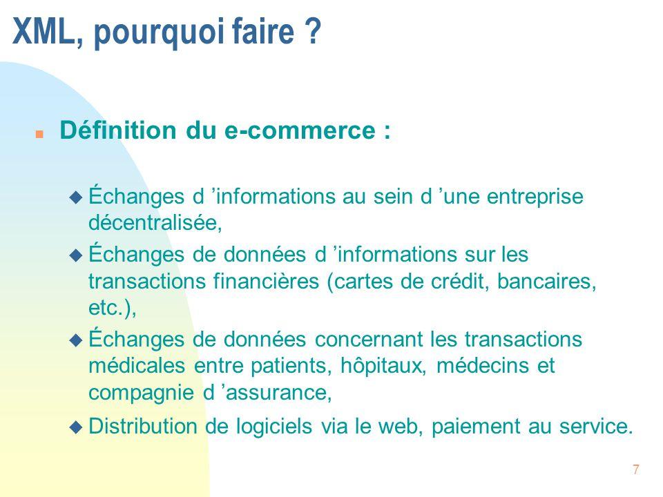 XML, pourquoi faire Définition du e-commerce :