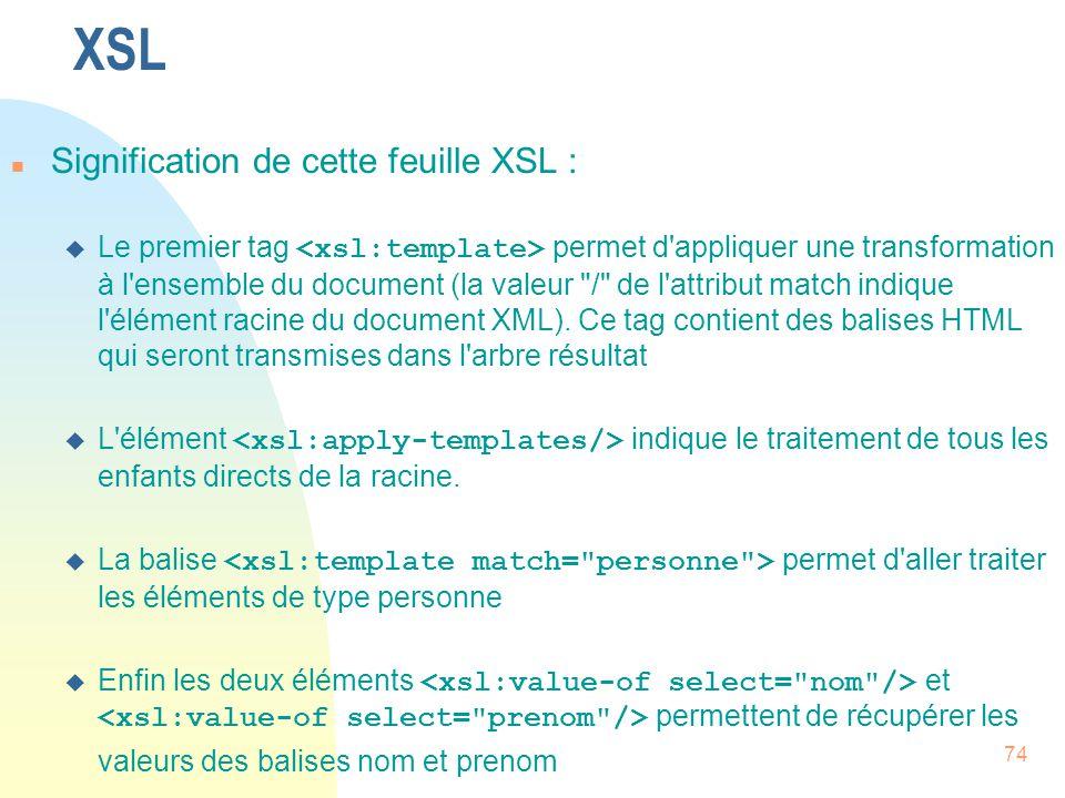 XSL Signification de cette feuille XSL :