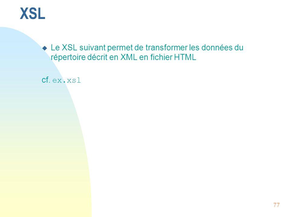 XSL Le XSL suivant permet de transformer les données du répertoire décrit en XML en fichier HTML cf.