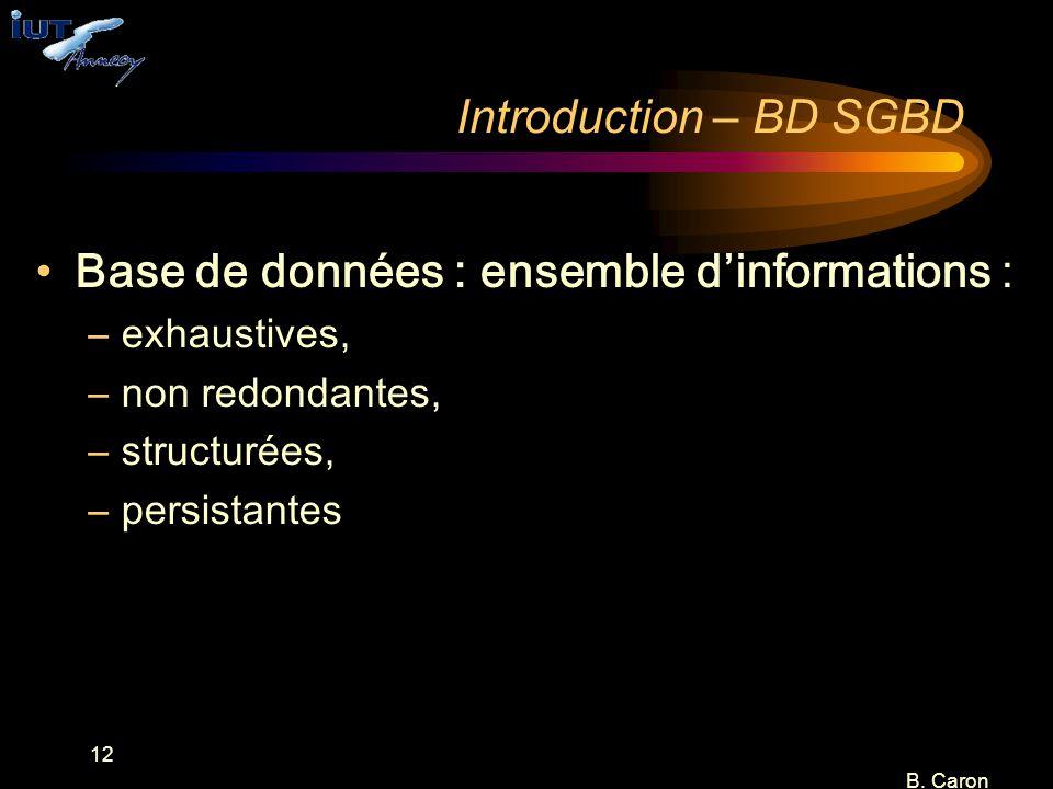 Base de données : ensemble d'informations :