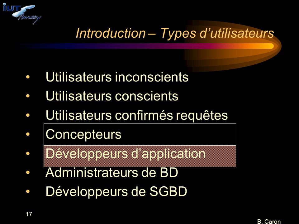Introduction – Types d'utilisateurs