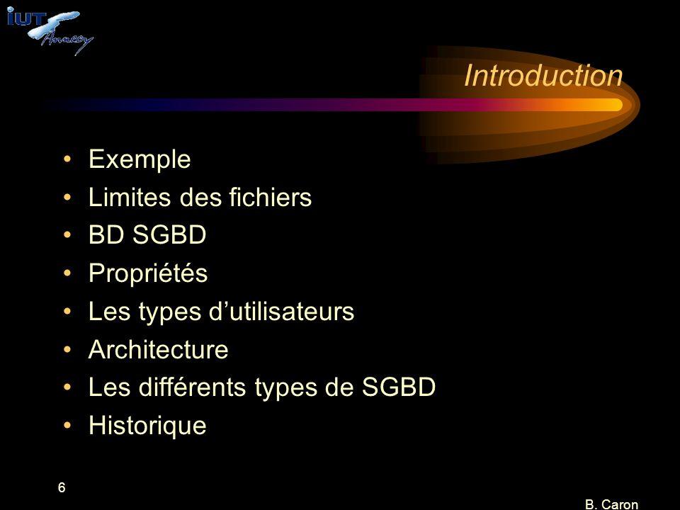 Introduction Exemple Limites des fichiers BD SGBD Propriétés