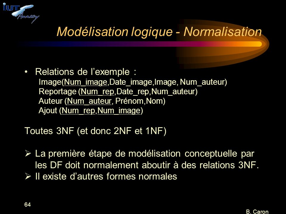 Modélisation logique - Normalisation