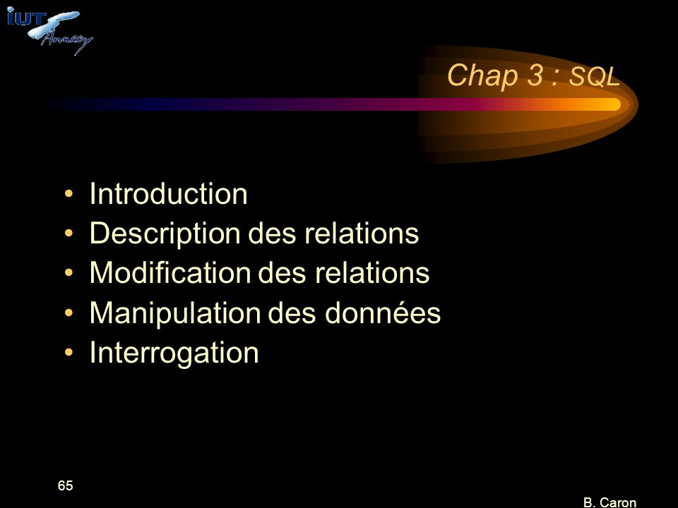 Description des relations Modification des relations