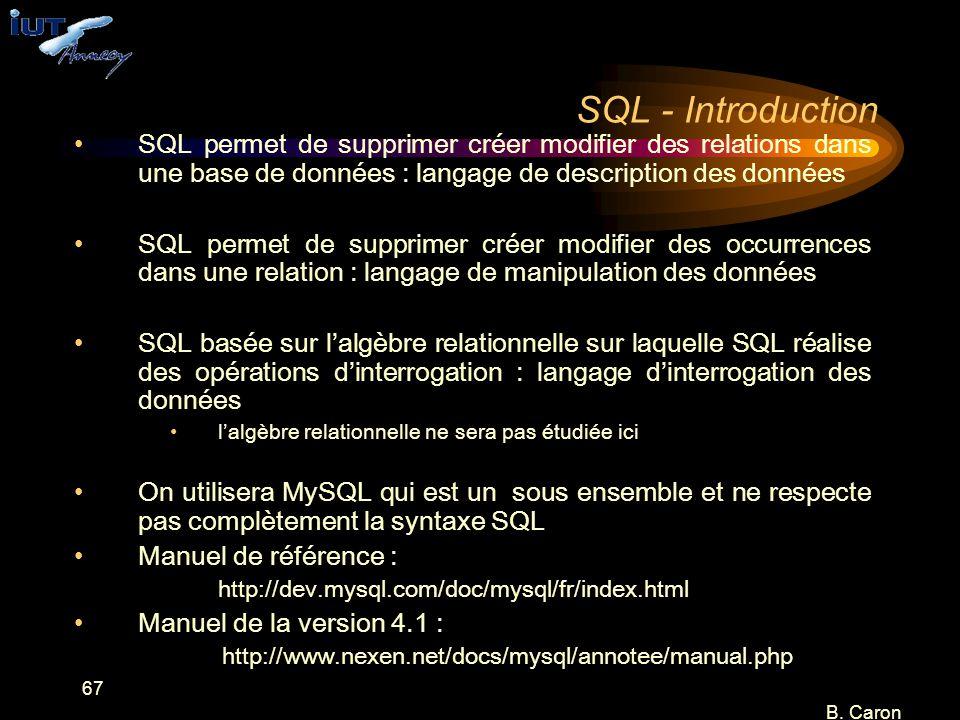 SQL - Introduction SQL permet de supprimer créer modifier des relations dans une base de données : langage de description des données.