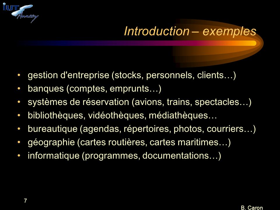 Introduction – exemples