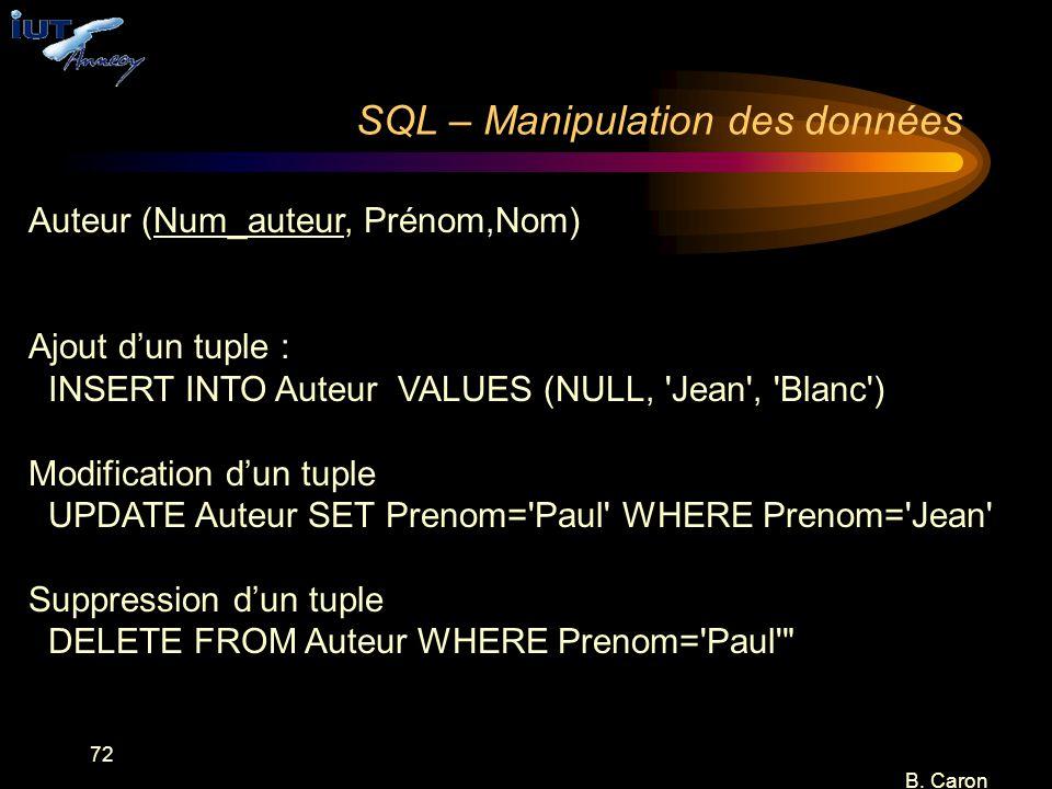 SQL – Manipulation des données