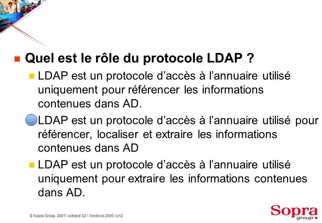 Quel est le rôle du protocole LDAP