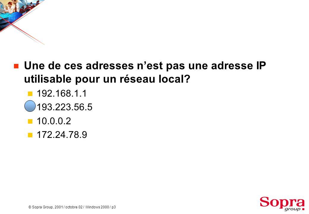 Une de ces adresses n'est pas une adresse IP utilisable pour un réseau local