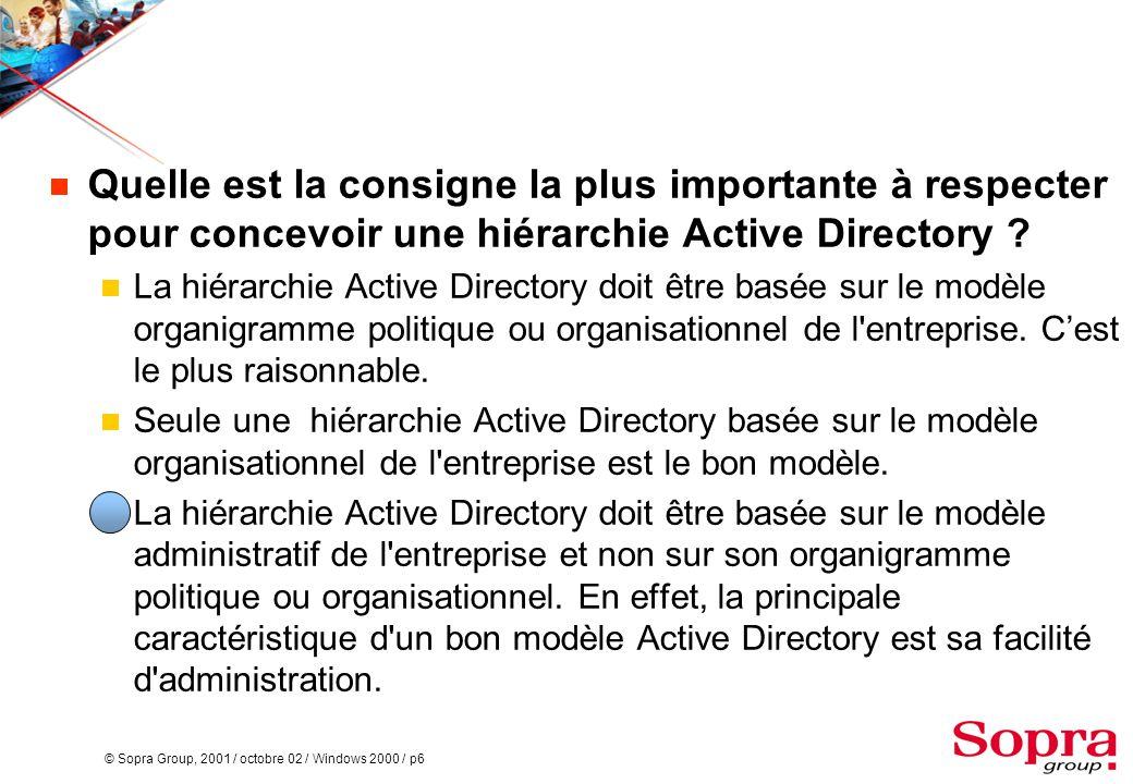 Quelle est la consigne la plus importante à respecter pour concevoir une hiérarchie Active Directory