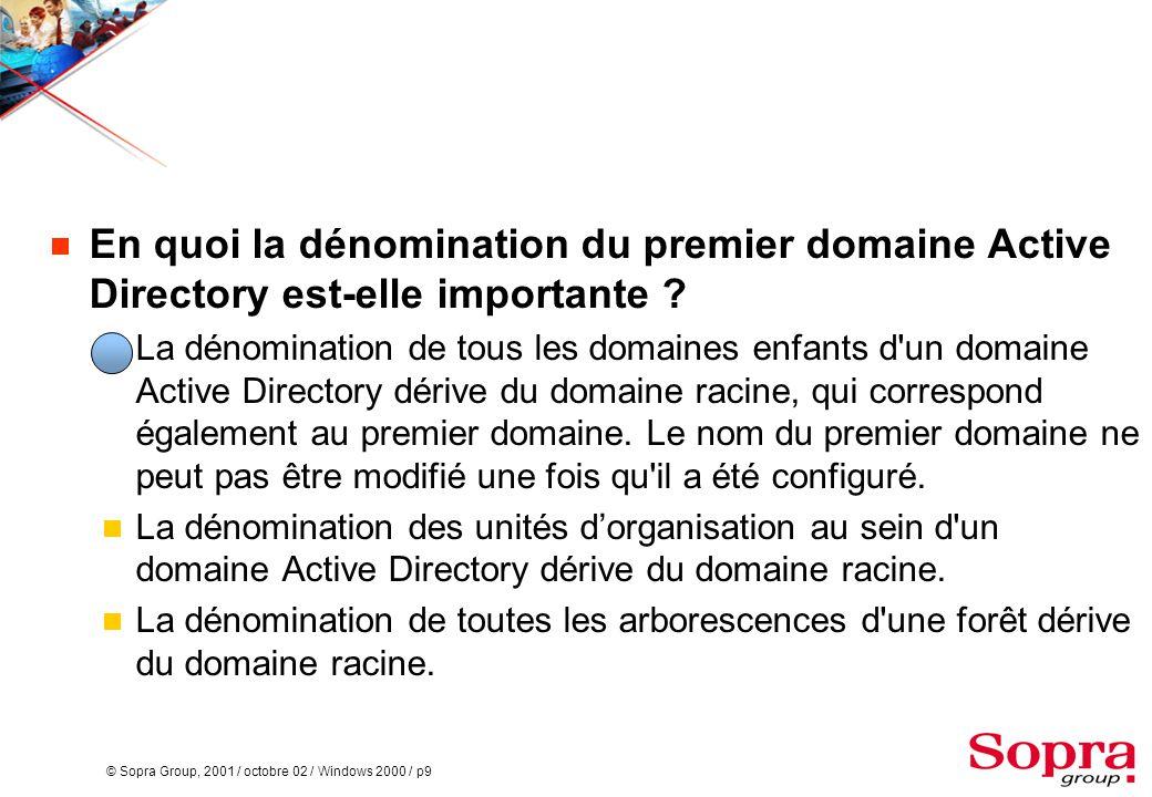 En quoi la dénomination du premier domaine Active Directory est-elle importante