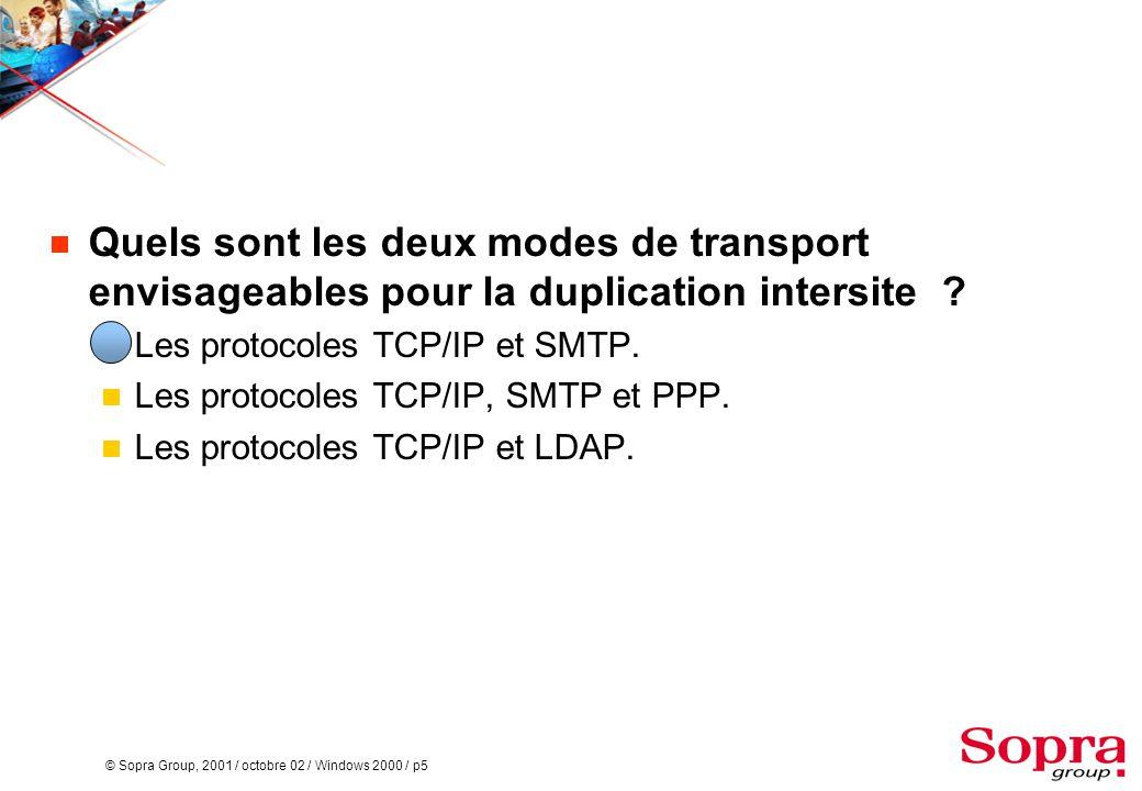 Quels sont les deux modes de transport envisageables pour la duplication intersite