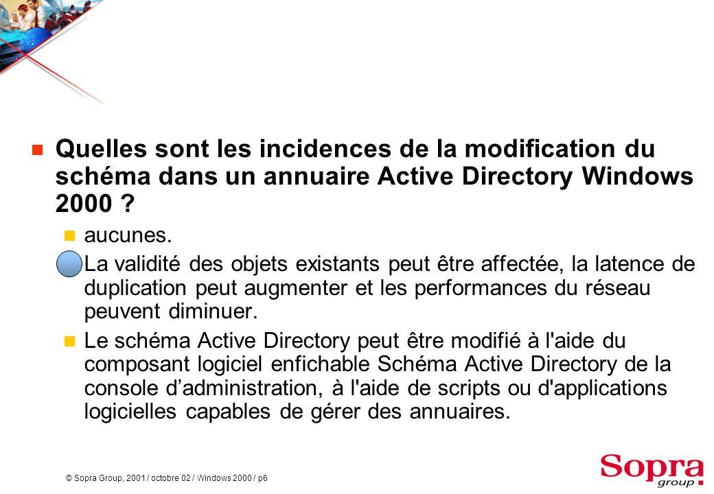 Quelles sont les incidences de la modification du schéma dans un annuaire Active Directory Windows 2000