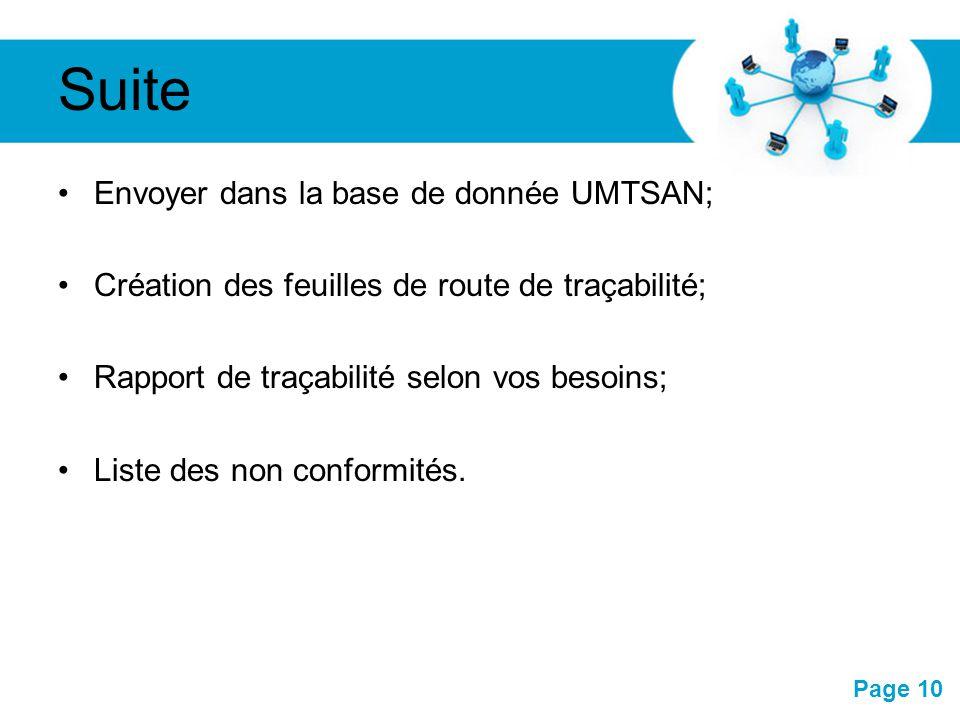 Suite Envoyer dans la base de donnée UMTSAN;