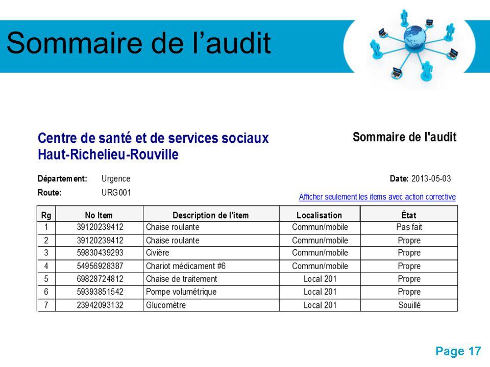 Sommaire de l'audit