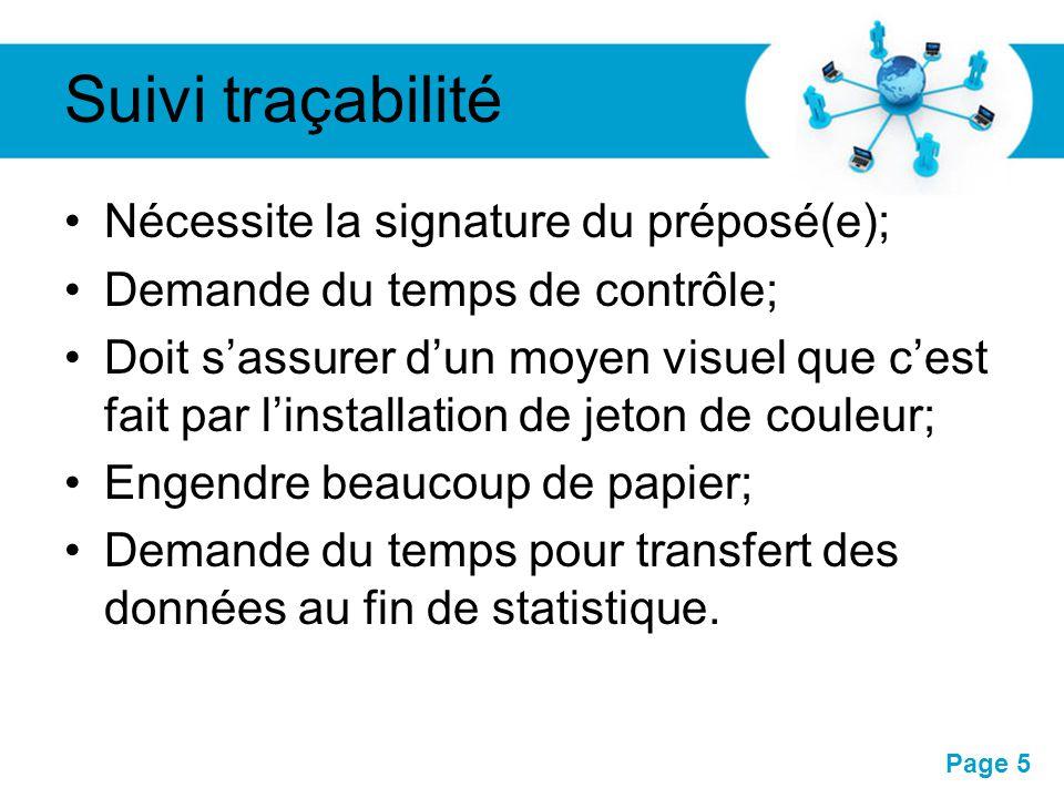 Suivi traçabilité Nécessite la signature du préposé(e);