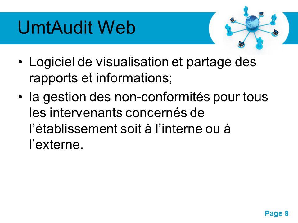UmtAudit Web Logiciel de visualisation et partage des rapports et informations;